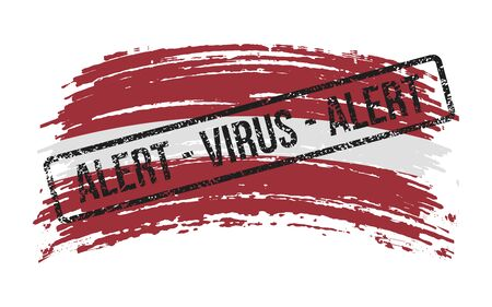 Latvian torn flag with a stamp with the words alert virus, vector image Иллюстрация