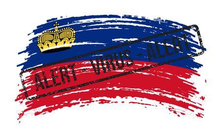 Liechtenstein torn flag with a stamp with the words alert virus, vector image Иллюстрация