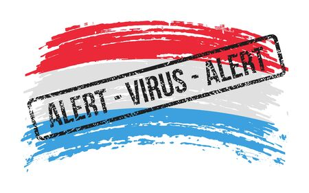 Luxembourgish torn flag with a stamp with the words alert virus, vector image