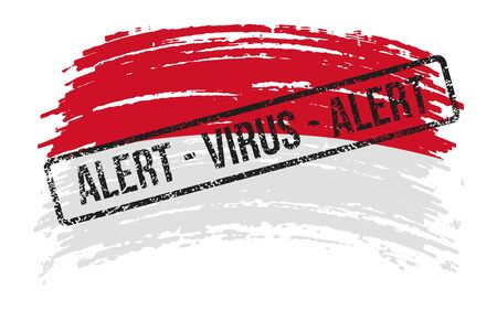 Monaco torn flag with a stamp with the words alert virus, vector image Иллюстрация