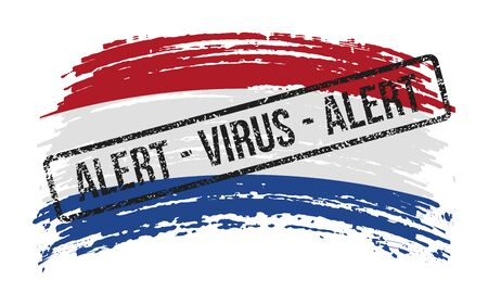 Dutch torn flag with a stamp with the words alert virus, vector image
