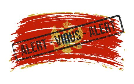 Montenegrin torn flag with a stamp with the words alert virus, vector image Иллюстрация