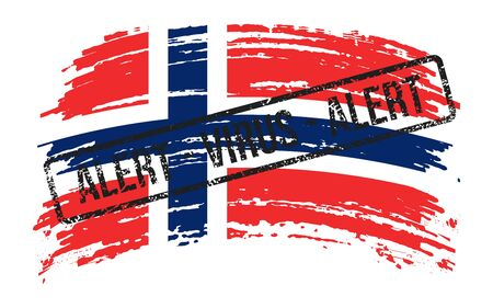 Norwegian torn flag with a stamp with the words alert virus, vector image