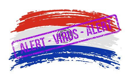 Paraguayan torn flag with a stamp with the words alert virus, vector image
