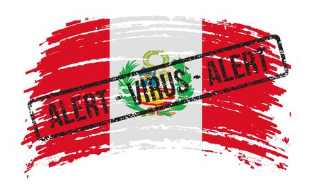 Peruvian torn flag with a stamp with the words alert virus, vector image