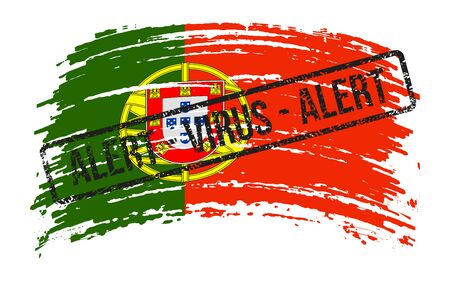 Portuguese torn flag with a stamp with the words alert virus, vector image Иллюстрация