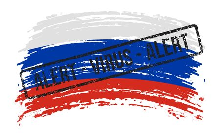 Russian torn flag with a stamp with the words alert virus, vector image