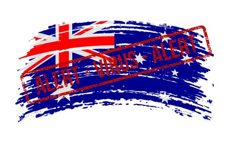Australian torn flag with a stamp with the words alert virus, vector image