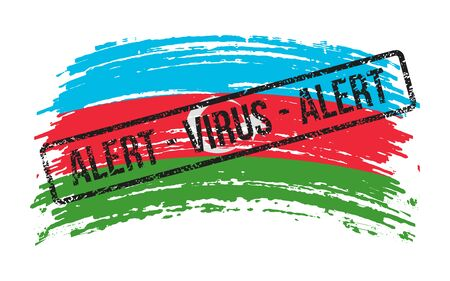 Azerbaijani torn flag with a stamp with the words alert virus, vector image