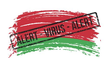 Belarusian torn flag with a stamp with the words alert virus, vector image Иллюстрация