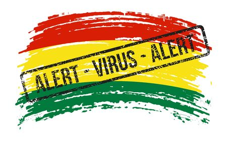 Bolivian torn flag with a stamp with the words alert virus, vector image Иллюстрация