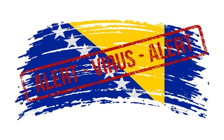 Bosnia and Herzegovina torn flag with a stamp with the words alert virus, vector image