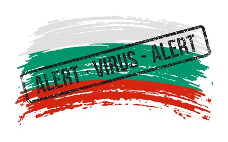 Bulgarian torn flag with a stamp with the words alert virus, vector image