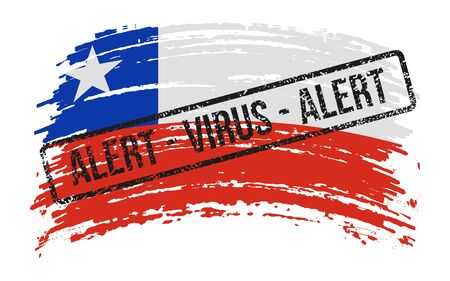 Chilean torn flag with a stamp with the words alert virus, vector image Иллюстрация