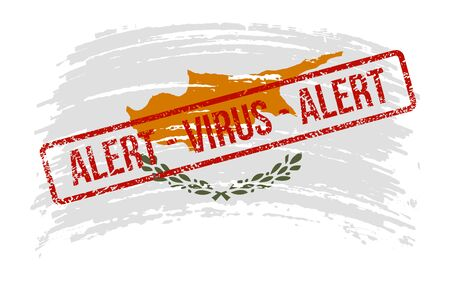Republic of Cyprus torn flag with a stamp with the words alert virus, vector image Иллюстрация