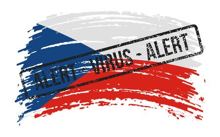 Czech Republic torn flag with a stamp with the words alert virus, vector image Ilustrace