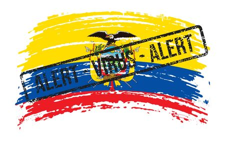 Ecuadorian torn flag with a stamp with the words alert virus, vector image Vettoriali