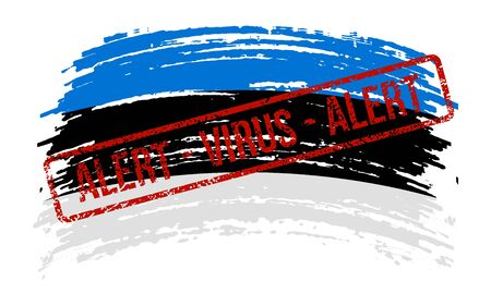 Estonian torn flag with a stamp with the words alert virus, vector image