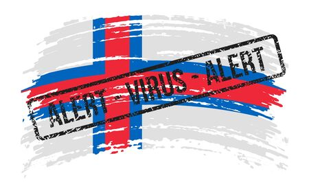 Faroe Islands torn flag with a stamp with the words alert virus, vector image