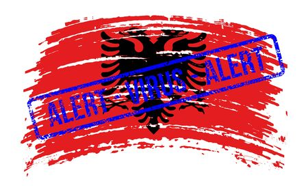 Albanian torn flag with a stamp with the words alert virus, vector image Vettoriali
