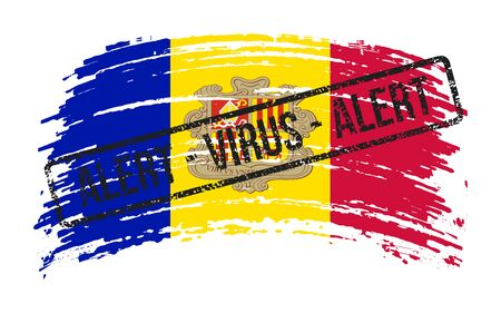 Andorian torn flag with a stamp with the words alert virus, vector image