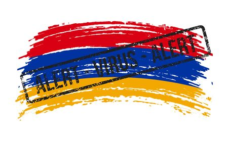 Armenian torn flag with a stamp with the words alert virus, vector image