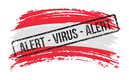 Austrian torn flag with a stamp with the words alert virus, vector image Ilustracja