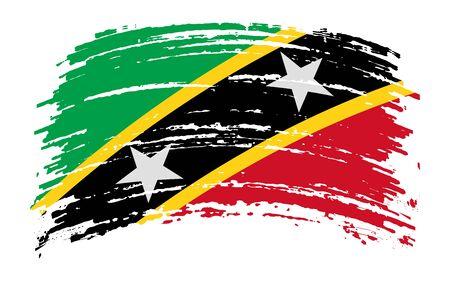 Saint Kitts and Nevis flag in grunge brush stroke, vector image Vettoriali