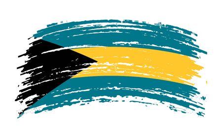 Bahamas flag in grunge brush stroke, vector image