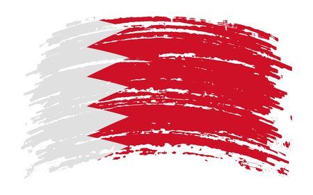 Bahrain flag in grunge brush stroke, vector image