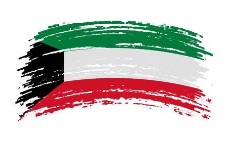 Kuwait flag in grunge brush stroke, vector image Vettoriali