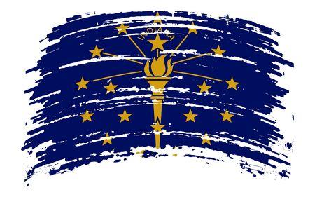 Indiana US flag in grunge brush stroke, vector image
