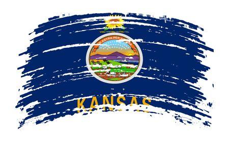 Kansas US flag in grunge brush stroke, vector image