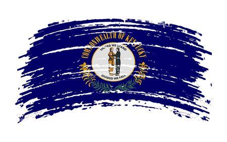 Kentucky US flag in grunge brush stroke, vector image Vettoriali
