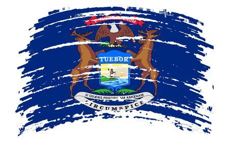 Michigan US flag in grunge brush stroke, vector image