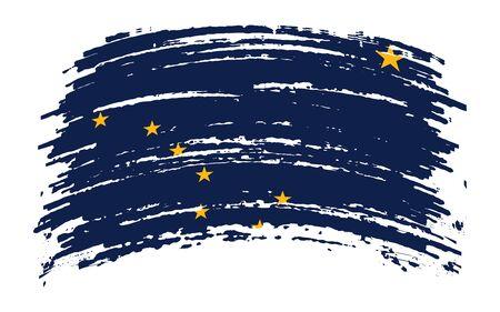 Alaska US flag in grunge brush stroke, vector image