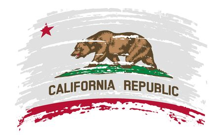 California US flag in grunge brush stroke, vector image