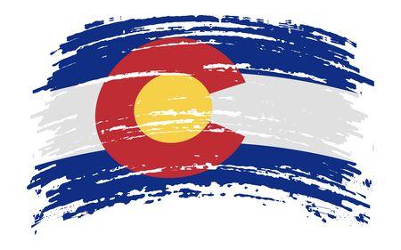Colorado US flag in grunge brush stroke, vector image