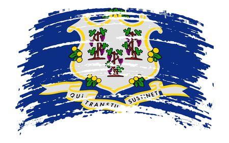 Connecticut US flag in grunge brush stroke, vector image Vettoriali