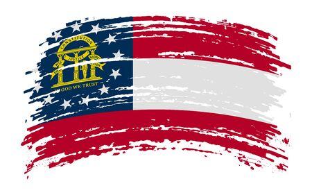 Georgia US flag in grunge brush stroke, vector image