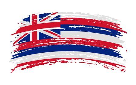 Hawaii US flag in grunge brush stroke, vector image