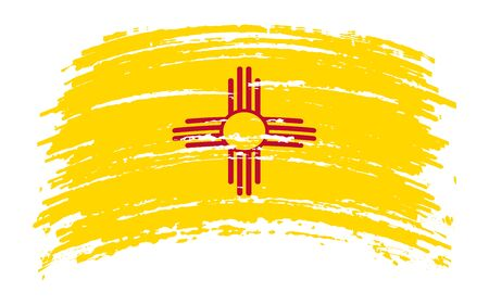 New Mexico US flag in grunge brush stroke, vector image
