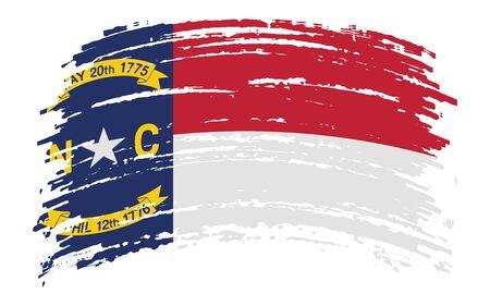 North Carolina US flag in grunge brush stroke, vector image