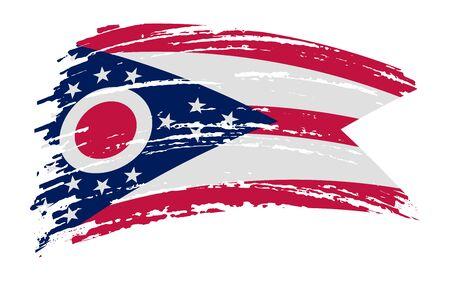 Ohio US flag in grunge brush stroke, vector image Vettoriali