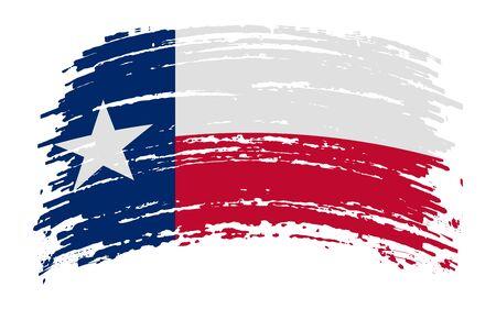 Texas US flag in grunge brush stroke, vector image