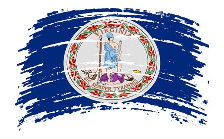 Virginia US flag in grunge brush stroke, vector image Vettoriali