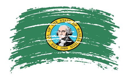 Washington US flag in grunge brush stroke, vector image Vettoriali