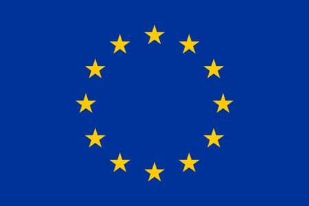 European Union flag with twelve golden stars in proportions and colors vector