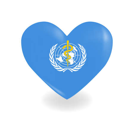 Heart with World Health Organization flag on a white background casts a shadow, vector Vettoriali