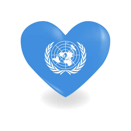 Heart with United Nations flag on a white background casts a shadow, vector